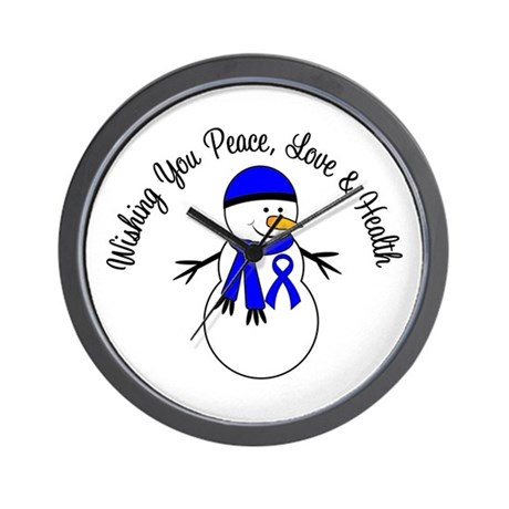 Christmas Snowman Blue Ribbon Wall Clock