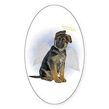 Angel German Shepherd Puppy Oval Sticker