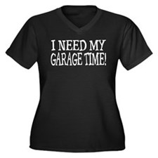 Garage Time Women's Plus Size V-Neck Dark T-Shirt