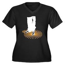Dancing Shoes Women's Plus Size V-Neck Dark T-Shir