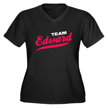 Team Edward Twilight Women's Plus Size V-Neck Dark
