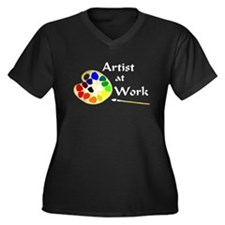 Artist at Work Women's Plus Size V-Neck Dark T-Shi