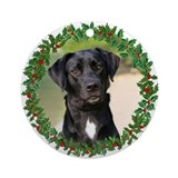 Black Lab Holiday Ornament (Round)