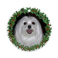 Maltese Holiday Ornament (Round)