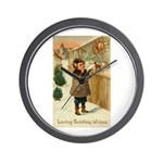 Toy Store at Christmas Wall Clock