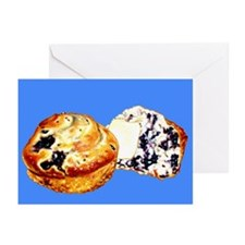 Blueberry Muffins Blue Greeting Cards (Pk of 10)