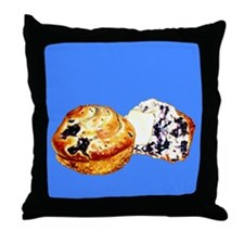 Blueberry Muffins Blue Throw Pillow