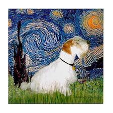 Starry Night/Sealyham L1 Tile Coaster