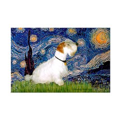 Starry Night/Sealyham L1 Mini Poster Print