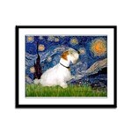 Starry Night/Sealyham L1 Framed Panel Print