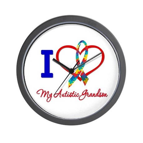 I Love My Autistic Grandson Wall Clock