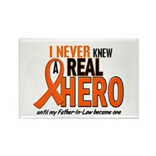 Never Knew A Real Hero 2 ORANGE Rectangle Magnet