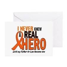 Never Knew A Real Hero 2 ORANGE Greeting Cards (Pk