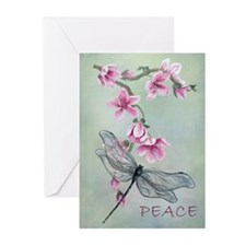 Blossom & Dragonfly Peace Greeting Cards (10