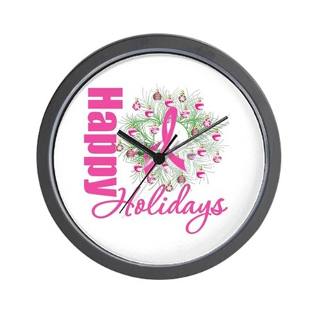 X-Mas PinkRibbon Wall Clock
