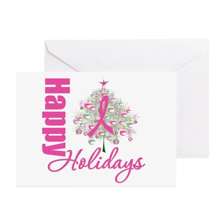 PinkRibbon X-MasTree Greeting Cards (Pk of 10)