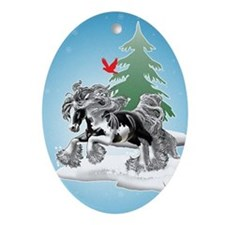 Gypsy Vanner Winter Oval Ornament