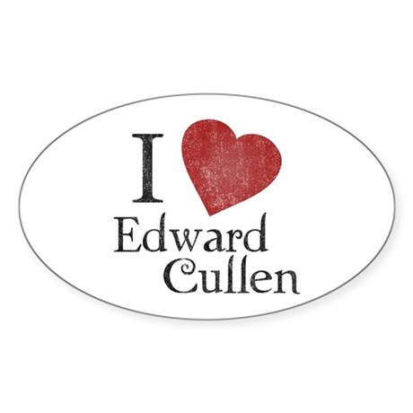 I Love Edward Cullen Oval Sticker