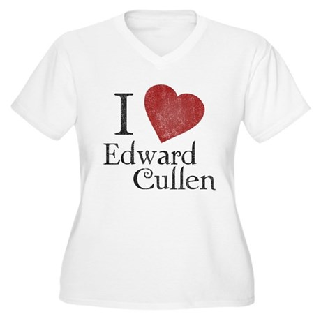 I Love Edward Cullen Womens Plus Size V-Neck T-Sh