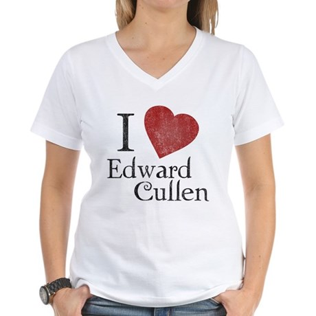 I Love Edward Cullen Womens V-Neck T-Shirt