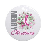 PinkRibbonWreath Ornament (Round)