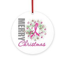 PinkRibbonWreath Ornament (Round)