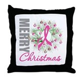 PinkRibbonWreath Throw Pillow