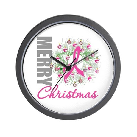 PinkRibbonWreath Wall Clock