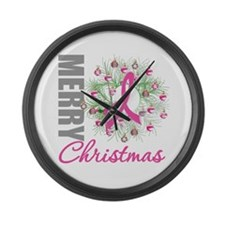 PinkRibbonWreath Large Wall Clock