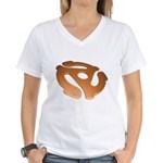 Orange 3D 45 RPM Adapter Women's V-Neck T-Shirt
