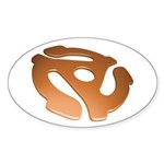 Orange 3D 45 RPM Adapter Oval Sticker (50 pk)