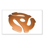 Orange 3D 45 RPM Adapter Rectangle Sticker 50 pk)