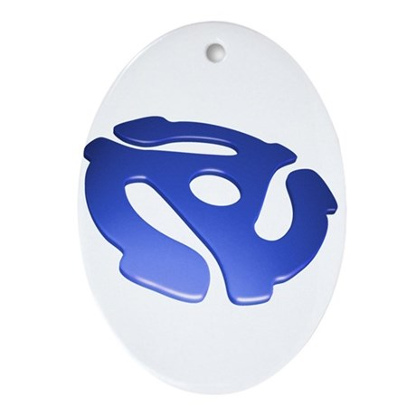 Blue 3D 45 RPM Adapter Oval Ornament