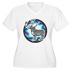 Reindeer Women's Plus Size V-Neck T-Shirt