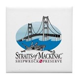 Mackinac Bridge logo Tile Coaster
