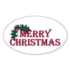 Merry Christmas Holly Oval Decal