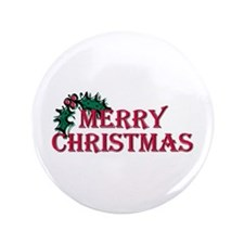 "Merry Christmas Holly 3.5"" Button (100 pack)"