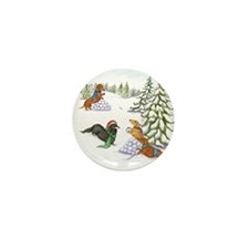 Snowball Fight Dachshunds Mini Button