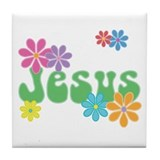 Retro Jesus Tile Coaster