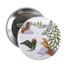 "Snowball Fight Dachshunds 2.25"" Button"