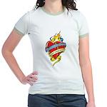 Down Syndrome Tattoo Heart Jr. Ringer T-Shirt