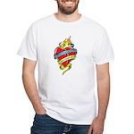 Down Syndrome Tattoo Heart White T-Shirt