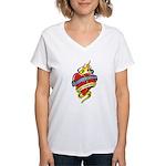 Down Syndrome Tattoo Heart Women's V-Neck T-Shirt