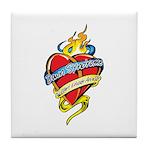 Down Syndrome Tattoo Heart Tile Coaster
