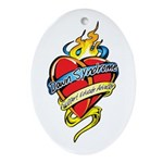 Down Syndrome Tattoo Heart Oval Ornament