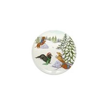 Snowball Fight Dachshunds Mini Button (10 pack)