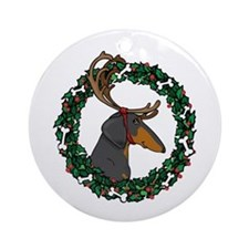 Reindeer BT Weiner Dog Ornament (Round)