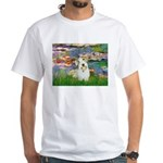 Lilies (#2)/Sealyham L2 White T-Shirt