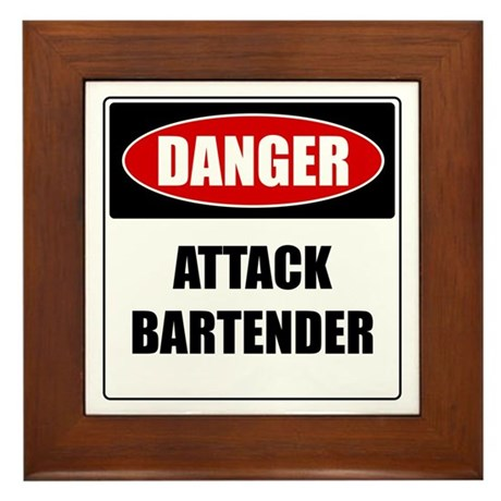 Danger: Attack Bartender Framed Tile