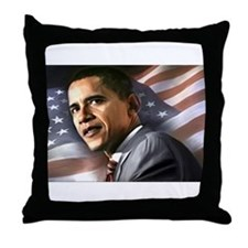 Flag Background with Obama Throw Pillow